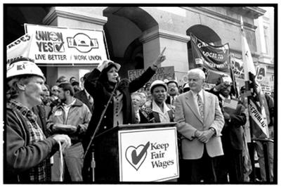 UNION YES! Then-State Senator Hilda Solis demonstrating with members of UNITE HERE to protect prevailing wage standards for state government contracts, which was vetoed by Governor Pete Wilson