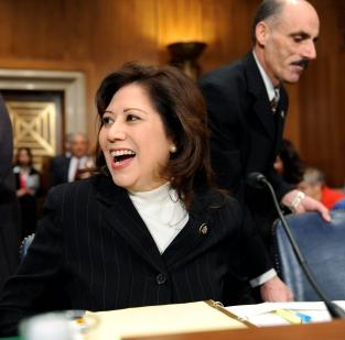 Rep. Hilda Solis (D-CA) is all smiles
