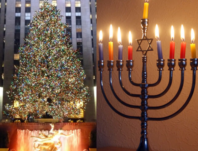 Photo of the Rockefeller Center Christmas Tree and a Menorah