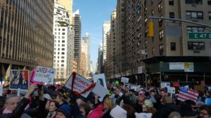 Photo of thousands of protesters along 42nd Street