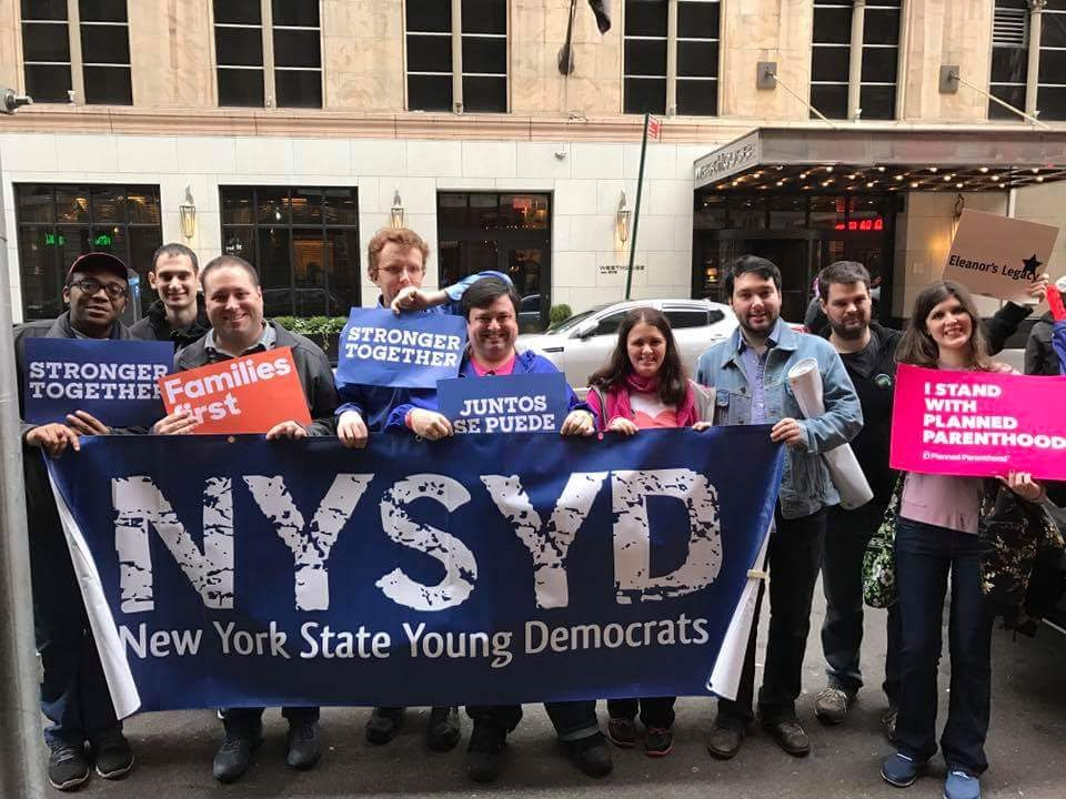 NYSYD at the Women's March in NYC with the banner