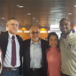 NYSYD National Committeeman Tazbir Alam with CCNY President Vince Boudreau, Stuart Appelbaum, Tatiana Torres, and DNC Vice Chair Michael Blake