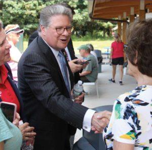 Photo of Sen. Pete Harckham with voters